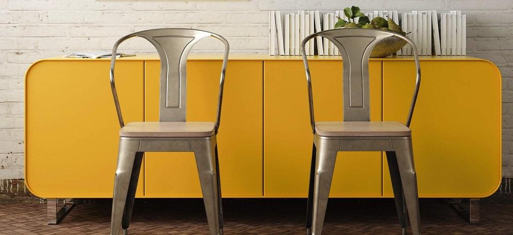 plakfolie oker geel dressoir kastje