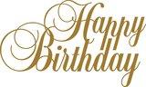 Tekststicker Happy Birthday goud 37x62 cm_