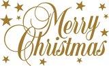 Tekststicker Merry Christmas goud 39x63 cm_