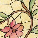 raamfolie bloemen glas in lood