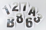 Huisnummer/container stickers Zilver RVS-look 6CM_