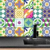 Tegelstickers klassiek Spaans kleurrijk 24 stuks (15x15 cm)_