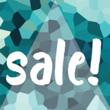 Etalage raamsticker Sale geblokt blauw_