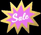 Etalage raamsticker Sale goud & paars_