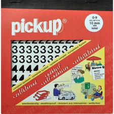 Plakcijfer stickers zwart Pick-up 10mm