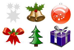 Grote Kerst stickers mix 6 stuks 20x20cm
