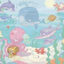 Posterbehang Walltastic baby under the sea