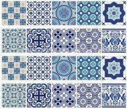 Tegelstickers Mediterraans blauw 10 stuks (10x10cm)