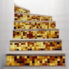 Trapstickers mozaiek steentjes goud (6 stroken)