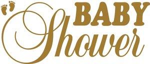 Tekststicker Babyshower goud 25x60 cm