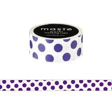Masking tape Masté stippen paars op wit