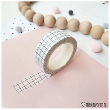 MIEKinvorm Masking tape wit met zwart grid