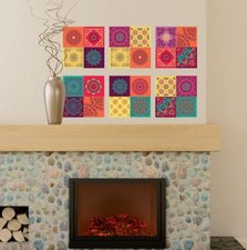 Tegelstickers kleurrijke mandala 12 stuks (20x20 cm)