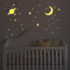 Muurstickers glow in the dark maan & sterren (1 vel)