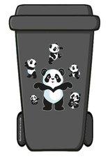 Containerstickers panda beertjes