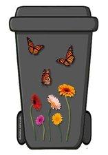 Containersticker bloemen en vlinders