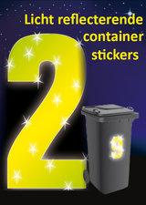 Containersticker huisnummersticker fluor geel