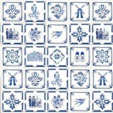 Tegelstickers delfts blauw 24 stuks (15x15 cm)