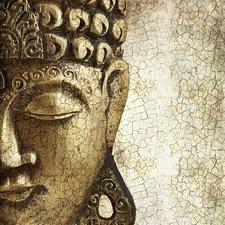 Tegelsticker boeddha goud 15x15cm