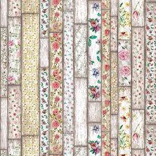 Plakfolie houten planken met bloemen (45cm)