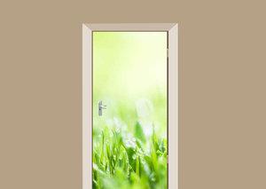 Deursticker dauw op gras