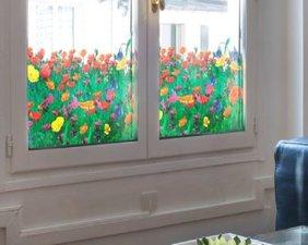 Raamfolie papavers voor HR++ glas (61cm)