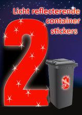 Containersticker huisnummersticker fluor rood 16,5cm
