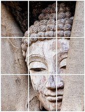 Foto tegelsticker 20x15 'Boeddha in hout' form.60x45 cm hxb
