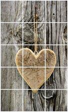 Foto tegelsticker 15x15 'Houten hart op boom' 75x45 cm hxb