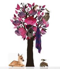 Muursticker kapstok boom kledingboom roze