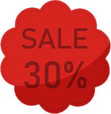 Etalage raamsticker Rood 30%