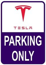 Sticker parking only Tesla