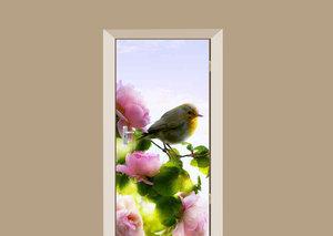 Deursticker pioenroos en vogel