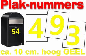 Huisnummer / container stickers Geel 10CM