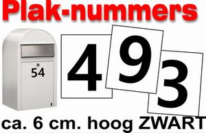 Huisnummer / container stickers Zwart 6CM