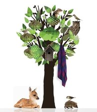 Muursticker kapstok boom / kledingboom groen