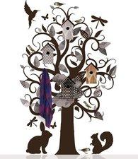 Grote boom muursticker kapstok villa kledingboom grijs