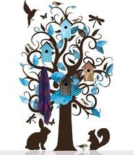 Grote muursticker kapstok villa kledingboom blauw