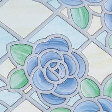 Raamfolie bloemen rustiek blauw