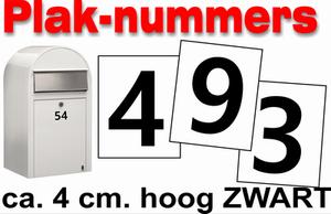 Huisnummer / container stickers Zwart 4CM