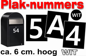 Huisnummer / container stickers Wit 6CM