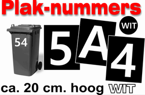 Huisnummer / container stickers Wit 20CM
