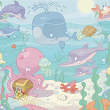 Posterbehang Walltastic baby under the sea