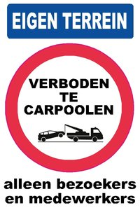 Pictogram sticker Verboden te carpoolen