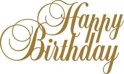 Tekststicker Happy Birthday goud 37x62 cm