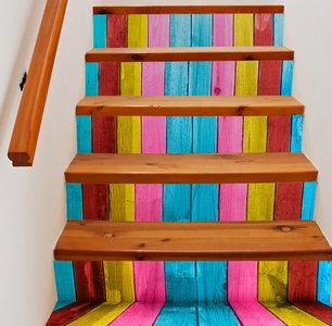 Trapstickers houten planken (6 stroken)