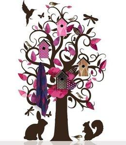 muursticker boom kapstok kledingboom