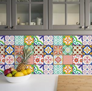 Tegelstickers klassiek Mediteraans kleurrijk 24 stuks (15x15 cm)