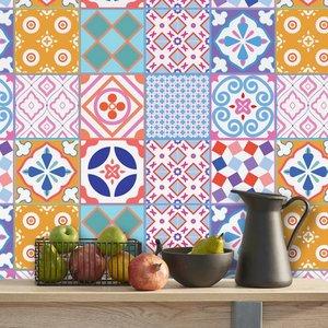 Tegelstickers  Classic Marokkaans kleurrijke mix 24 stuks (15x15 cm)