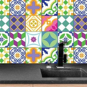 Tegelstickers klassiek Spaans kleurrijk 24 stuks (15x15 cm)